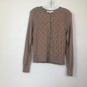 Loft Cardigan Sweater Brown Lace Front